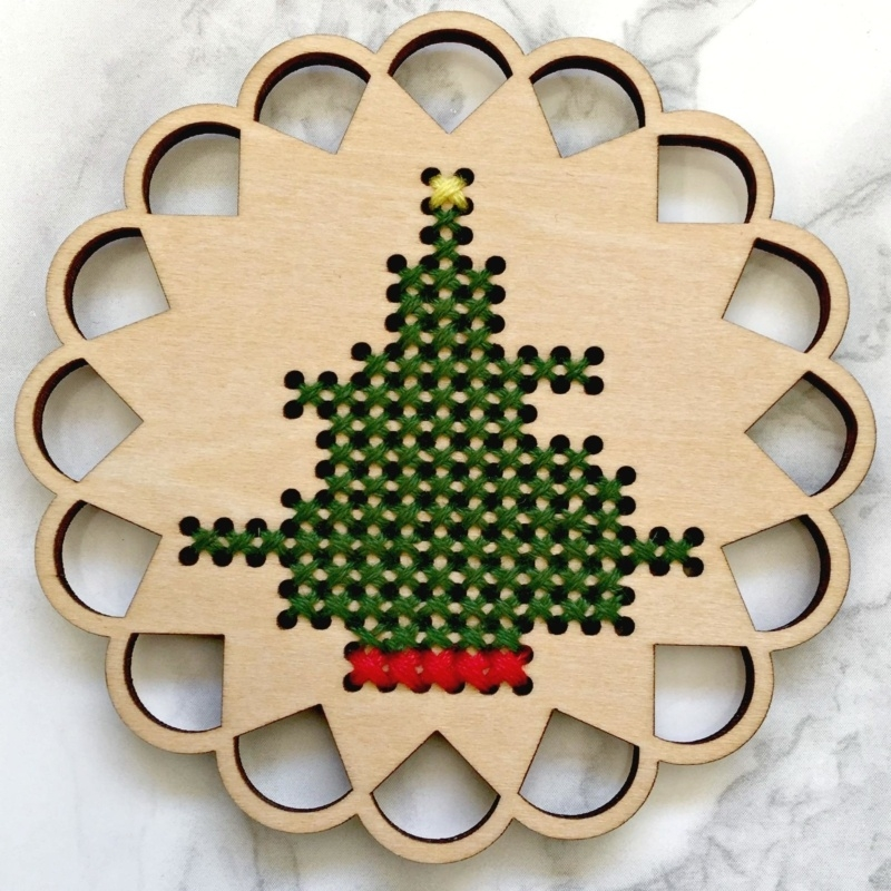 Cross Stitch Christmas Tree Decoration