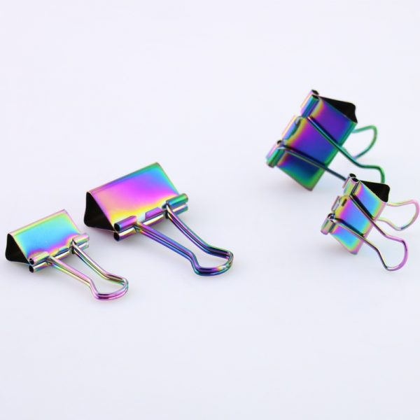 Rainbow binder clips