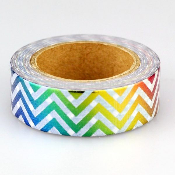 Rainbow Metallic Chevron Washi Tape