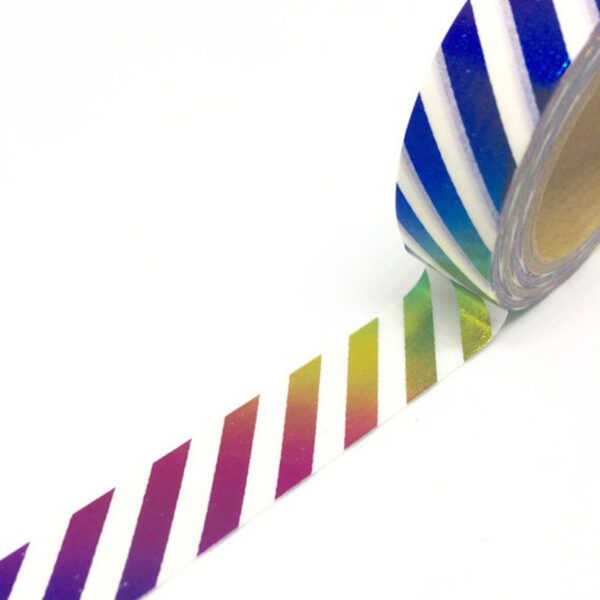 Rainbow Foil Stripe Washi Tape