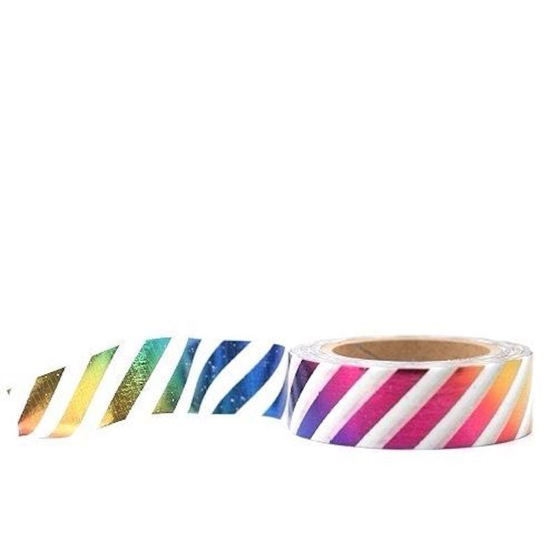 Rainbow Foil Stripe Washi Tape