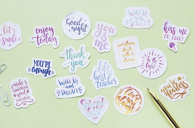 Brush Lettering Watercolour Stickers