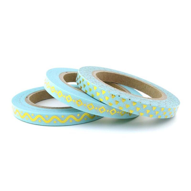 Blue gold skinny washi tape