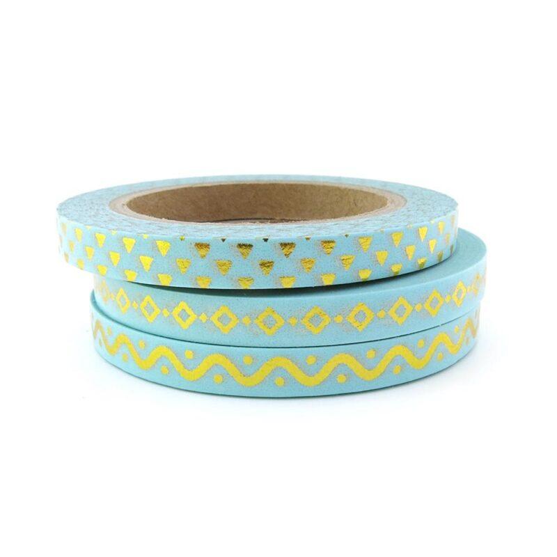 Blue gold skinny washi tape set