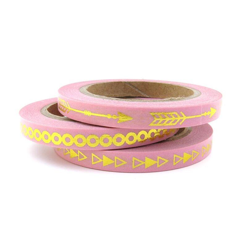 Pink gold skinny washi tape set