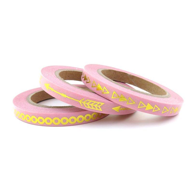 Pink gold skinny washi tape