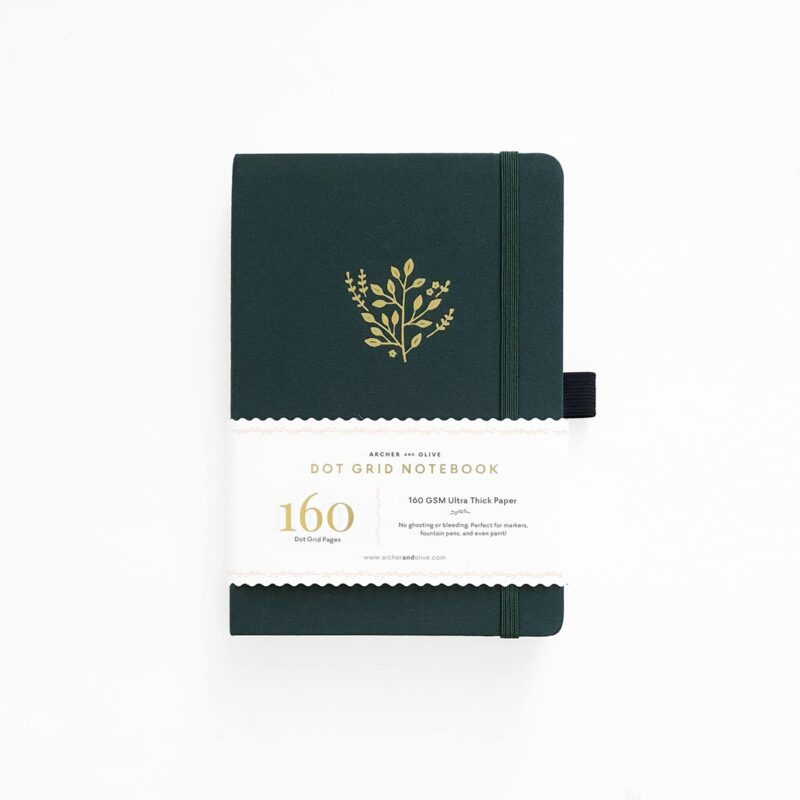 A5 Deep Green Dot Grid Notebook - Archer and Olive