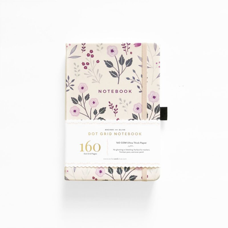A5 Painted Flowers Dot Grid Notebook - Archer and Olive