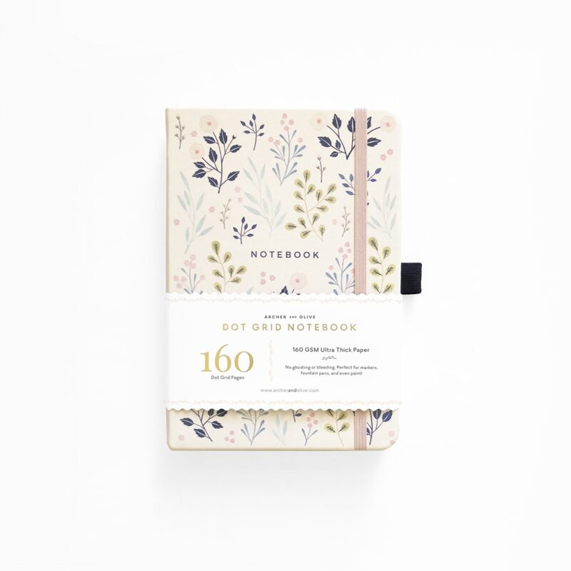 A5 Pink Flowers Dot Grid Notebook - Archer and Olive