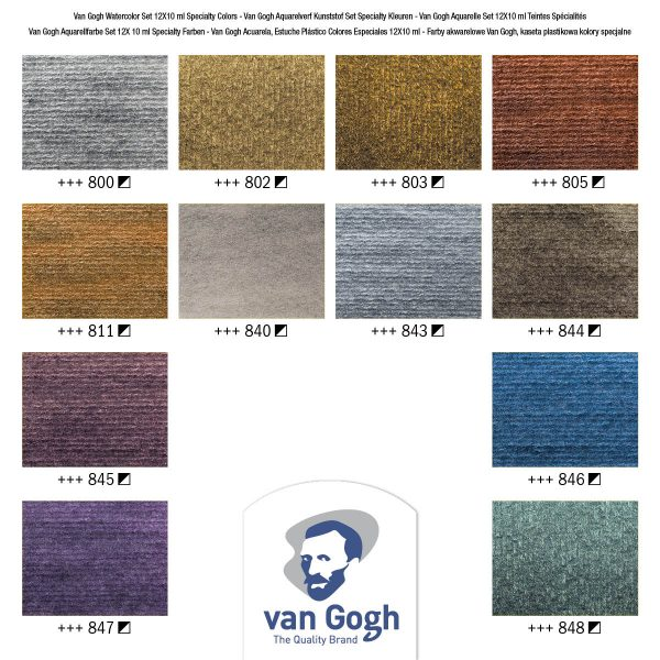 Van Gogh Metallic Watercolour Colour Card