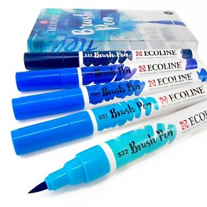 Ecoline Watercolour Brush Pens Blue