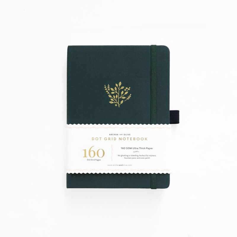 B5 Deep Green Dot Grid Notebook