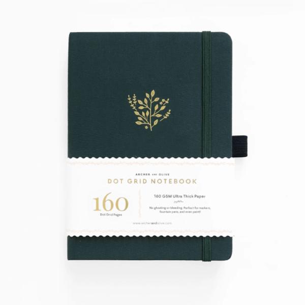 A5 Deep Green Dot Grid Notebook