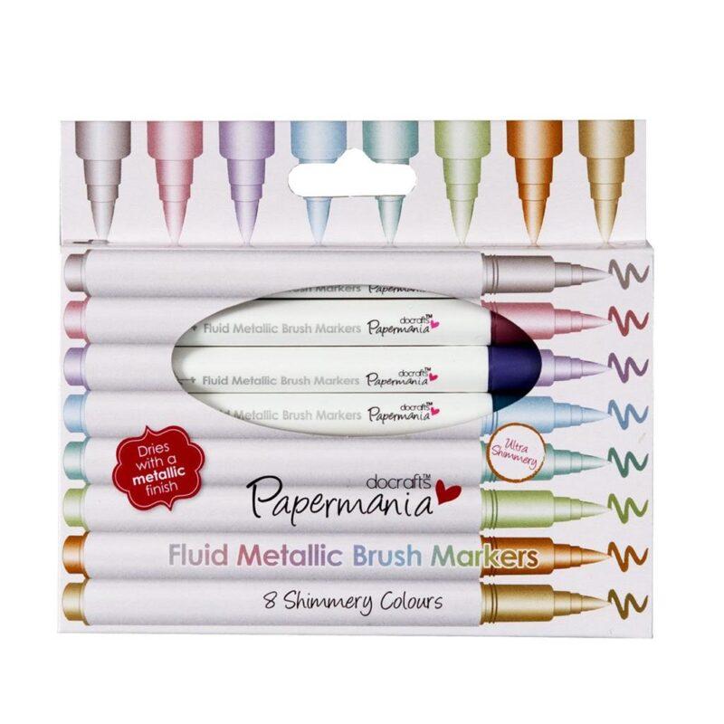 Metallic brush pens in box