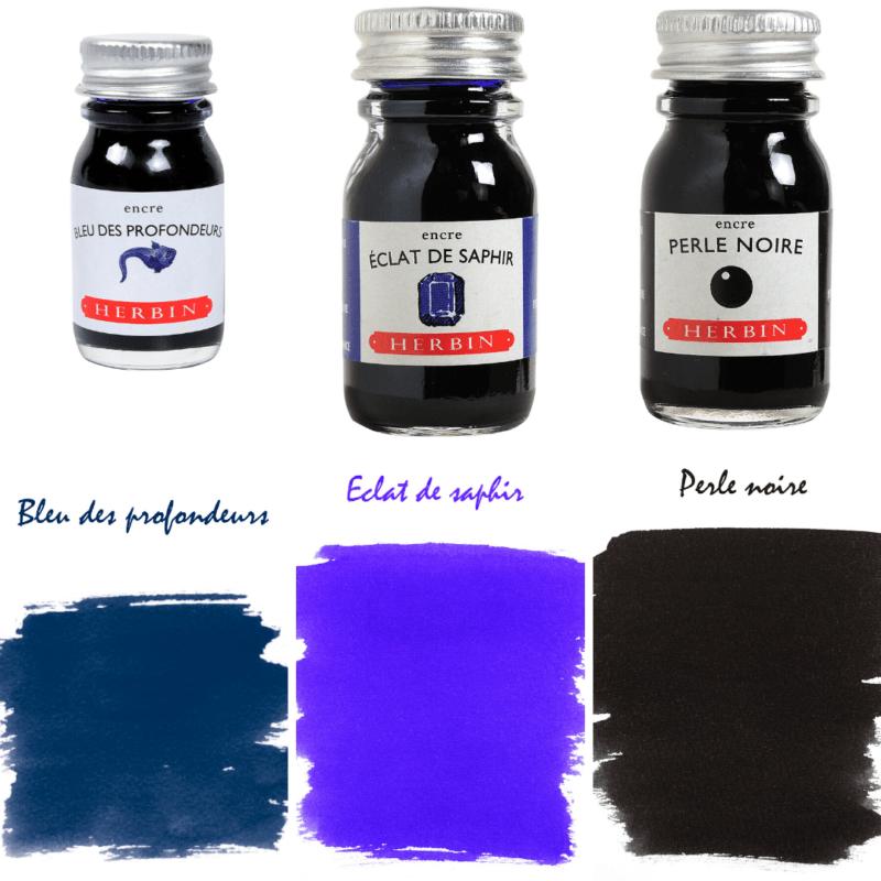 Herbin Fountain Pen Ink - Bleu des profendeurs, Eclat de Saphir and Perle Noir