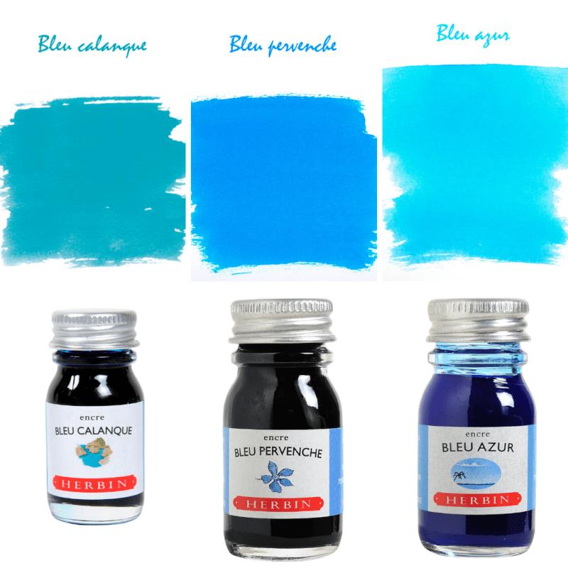 Herbin Fountain Pen Ink - Bleu Calanque, Bleu Pervenche, Bleu Calanque
