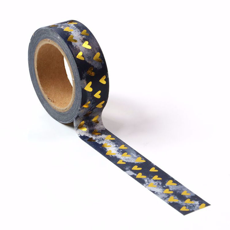 Gold Heart Washi Tape with black stormy background