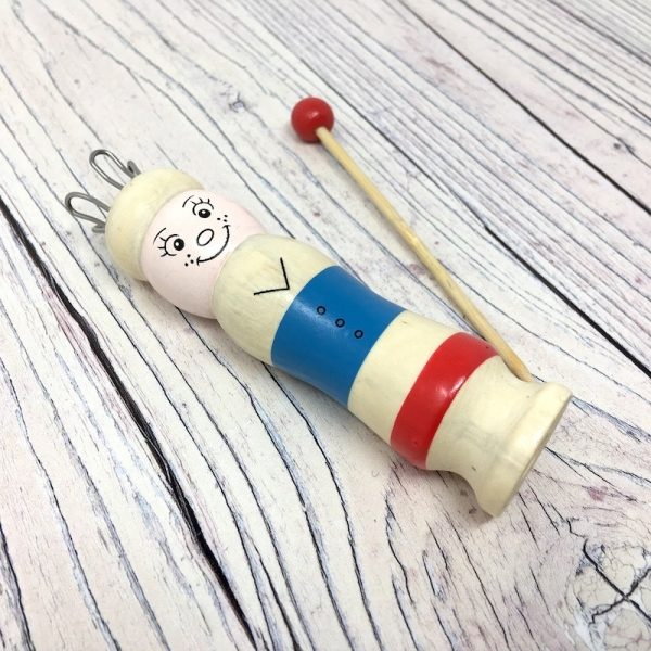 Knitting Nancy wooden doll and needle