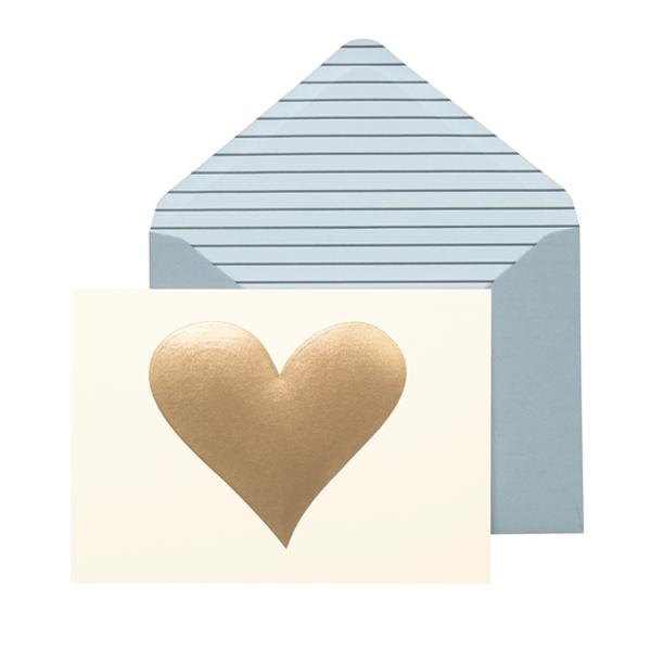Gold Heart Notecard Set
