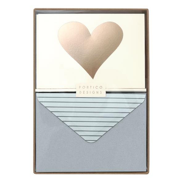 Gold Heart Notecard Set Boxed