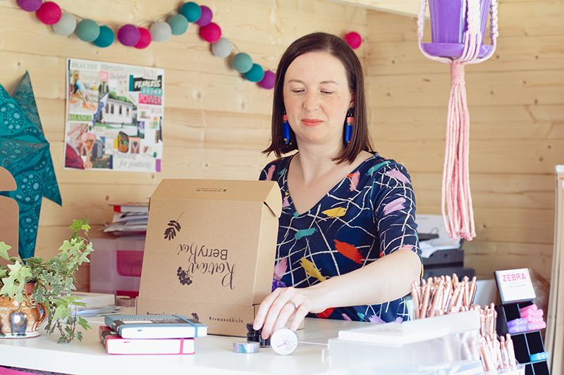 Danielle building the Rowan Berry Boxes