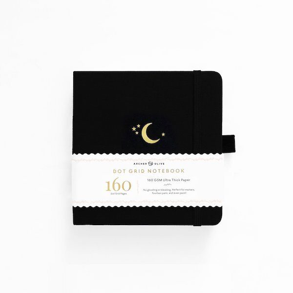 Square Crescent Moon Dot Grid Notebook