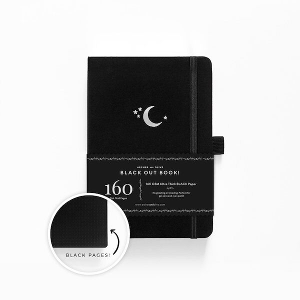 B5 Blackout Silver Crescent Dot Grid Notebook