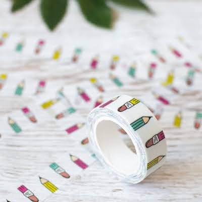 Pencil Washi Tape - Pink, yellow and blue