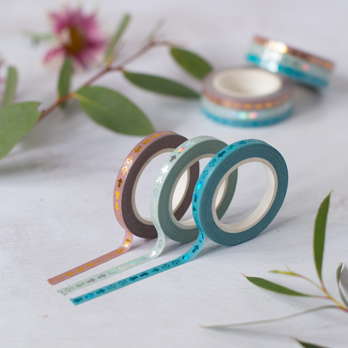 Skinny Washi Tape - three 5mm wide rolls in blue, light blue and brown with metallic arrow design