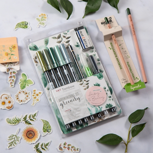 Tombow Watercolouring Set Greenery