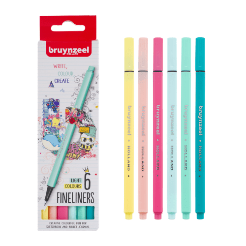 Light Colour Fineliners (set of 6) Bruynzeel