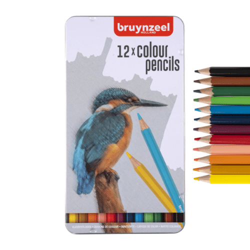 12 Colour Pencils in tin- Kingfisher