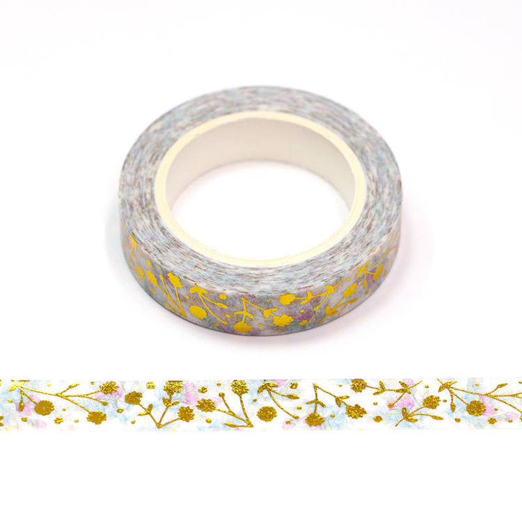Floral Washi Tape - Gold Flowers