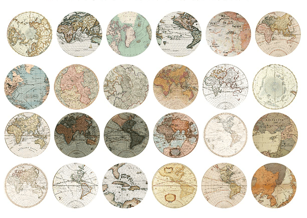 Vintage Map Stickers