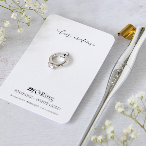 Moblique Solitaire White Gold Mo Ring