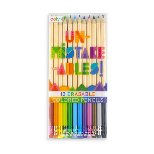 Set of Erasable Colored Pencils Set of 12 Colored Pencils Presharpened Pencils in the Set Convenient Erasers on Each Coloured Pencil