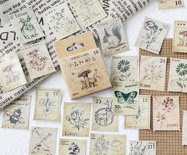 Vintage Postage Stamp Nature Inspired Stickers