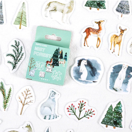Watercolour Christmas Woodland Stickers