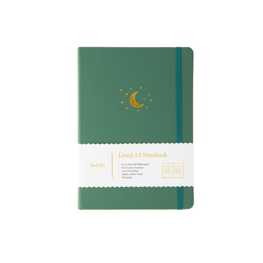 A5 Lined Notebook Moon & Stars Forest Green
