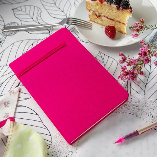 Modena A6 Bold Linen Hardcover Notebook Dotted Raspberry Fizz